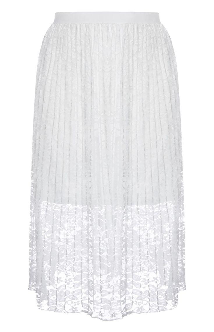 Primark - Falda de encaje plisada blanca 14e
