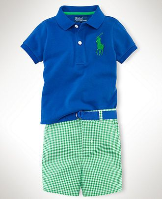 Ralph Lauren Baby Set, Baby Boys Polo Shirt and Gingham Shorts