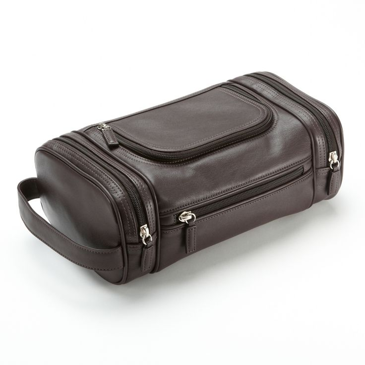 Brown Multi Pocket Toiletry Bag | Full Grain Chocolate Brown Leather