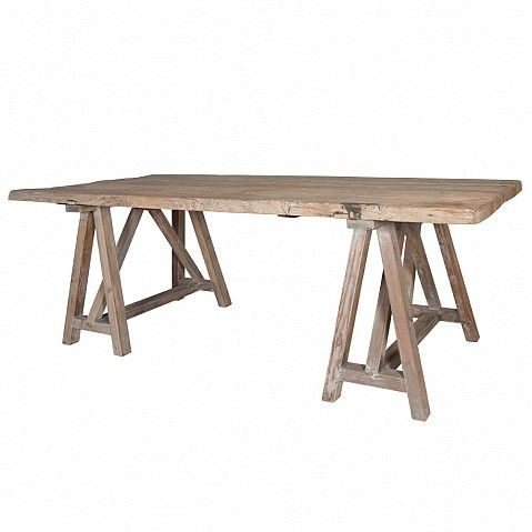Rustic reclaimed dining table on trestle legs - Trade Secret