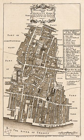 STOW, John. Walbrook Ward and Dowgate Ward. 1754. #antique #London #plan