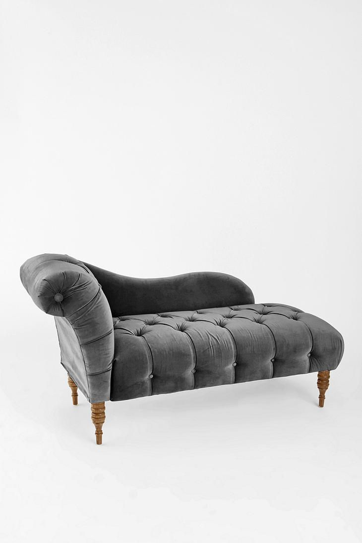 Edie Velvet Chaise - Grey  #UrbanOutfitters    I want to create a reading nook in my bedroom.