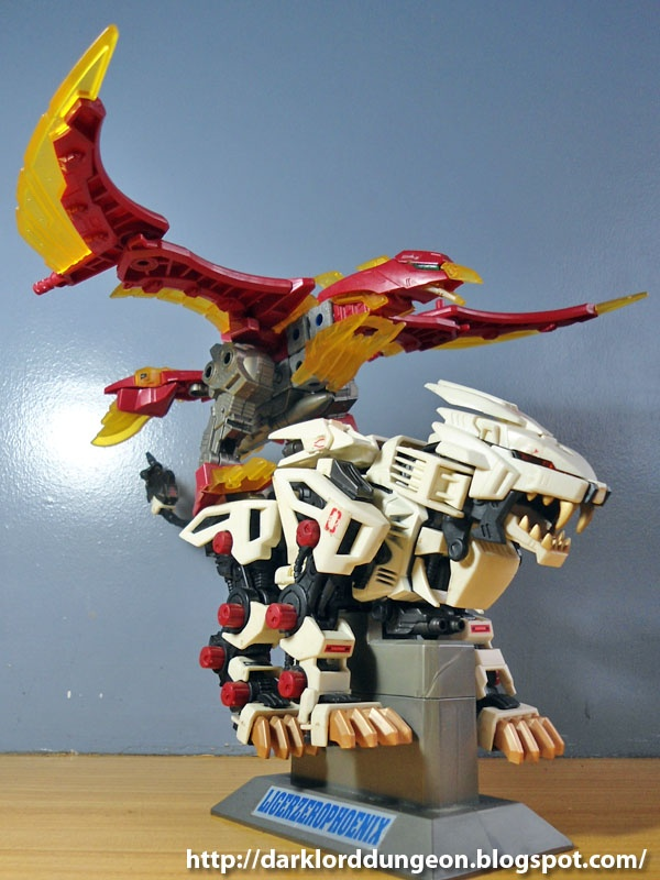 "The Fire Phoenix is a Blox Zoid - think of it as a Zoid built of magnets (Kinda Voltes V). When RD and the Liger Zero save it from destruction, the Fire Phoenix decides to ""fuze"" with the Liger Zero."