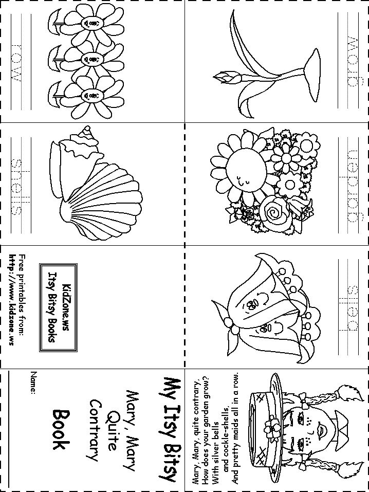 itsy bitsy book mary mary quite contrary - Printable Kindergarten Books