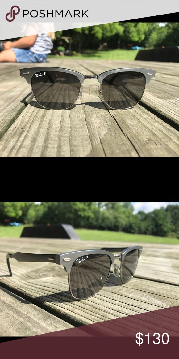 Polarized Club Master Ray-Bans Gunmetal frame, club master, polarized ray-bans. originally $220 + tax. comes with ray-bans case. Ray-Ban Accessories Sunglasses