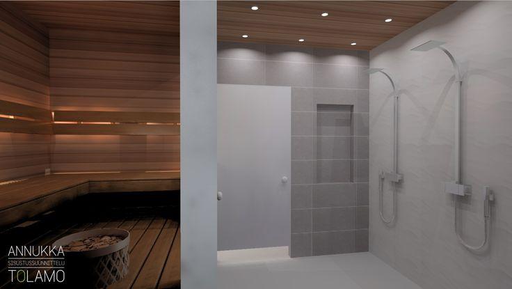 Sisustussuunnittelu Annukka Tolamo / 3D-mallinnus kylpyhuone & sauna