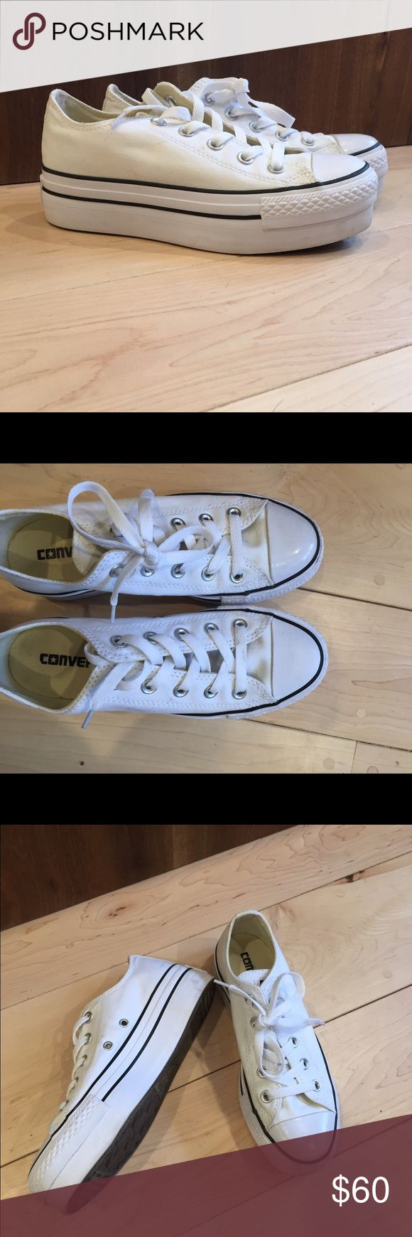 Platform converse all stars White platform converse sneakers. Great shape worn only one time. Converse Shoes Sneakers