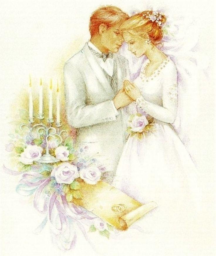 Картинка с днем свадьбы ретро