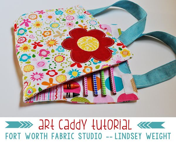 Fort Worth Fabric Studio: Art Caddy Tutorial, idea for carrying activity mat: fold in half lengthwise with handles on the short side