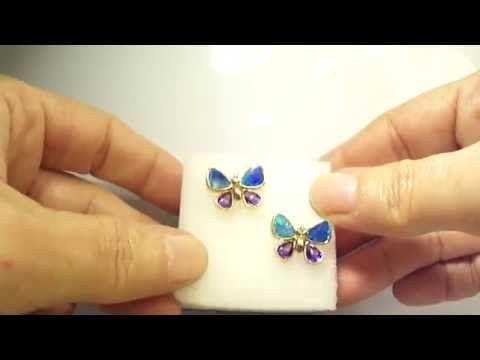 14k Yellow Gold Black Opal, Amethyst & Diamond Butterfly Stud Earrings