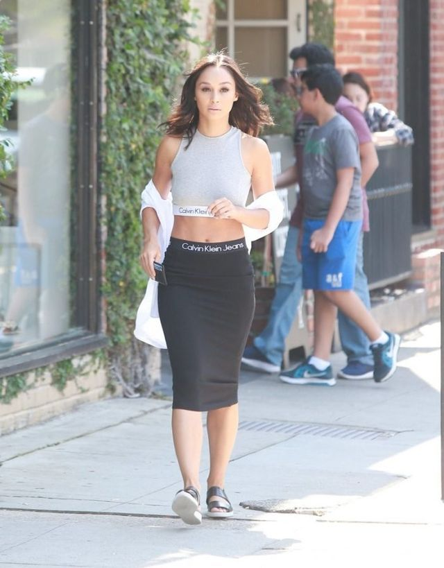 Steal: Cara Santana's Alfred's Cafe Calvin Klein for UO Grey High Neck Tank Top and Black Tube Skirt