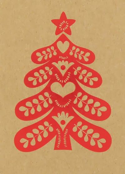 handmade Christmas card ... kraft with red print ... tree with folk art look of paper cutting ...