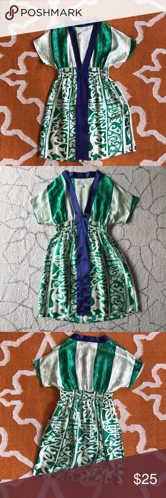 Riviera Maya Print Silk Dress/ Tunic Print is gorgeous in person! 100% silk. Plunging vneck. Smocked waist. 34 inches from shoulder to hem. Dresses Mini