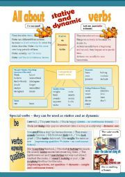 English worksheet: Stative Verbs - Presentation and Worksheet - 3 pages