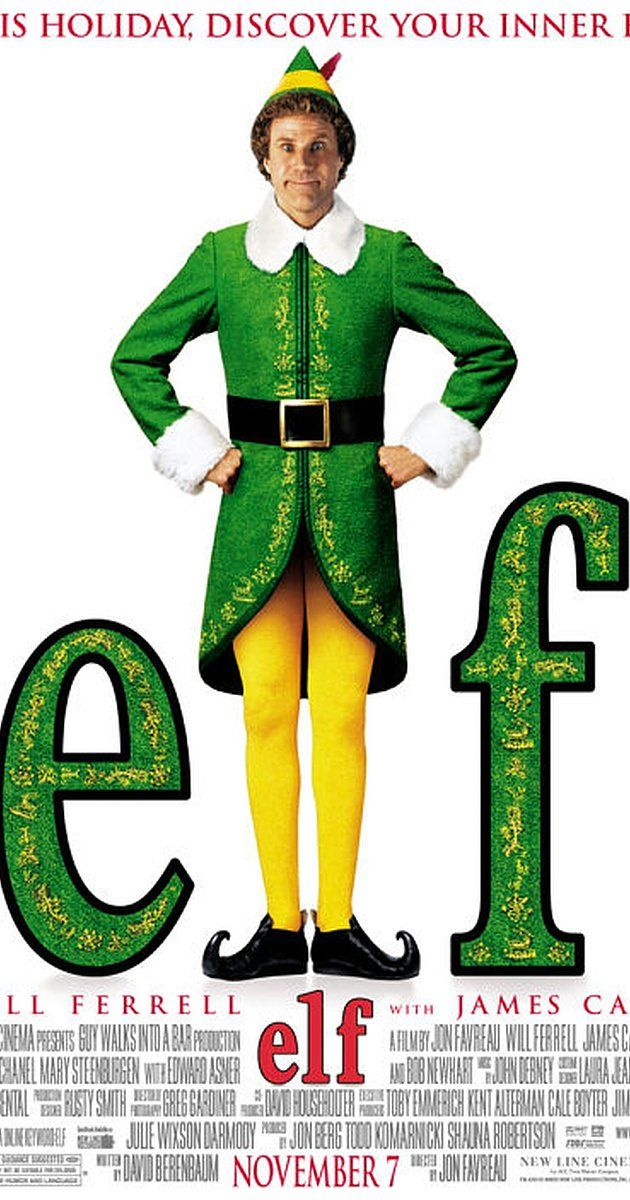 Directed by Jon Favreau.  With Will Ferrell, James Caan, Bob Newhart, Zooey Deschanel. After inadvertently wreaking havoc on the elf community due to his ungainly size, a man raised as an elf at the North Pole is sent to the U.S. in search of his true identity.