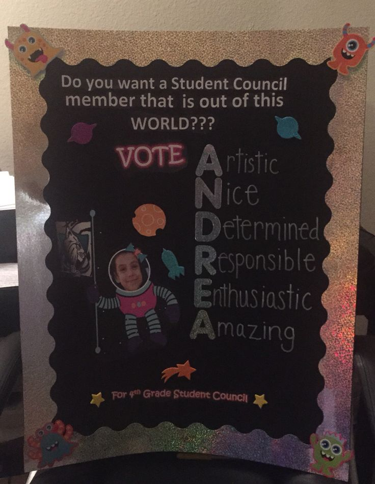 4th Grade Student Council Poster - made this for my daughter                                                                                                                                                     More