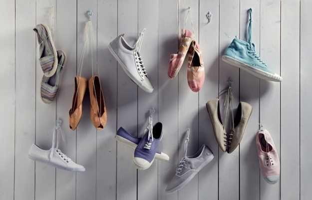 creative shoe storage ideas, hanging shoes on hooks