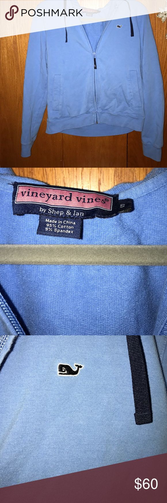 Vineyard vines blue zip up hoodie Worn a couple of times! I'm great condition 😄!! Size small. Has whale on the right side of jacket Vineyard Vines Jackets & Coats