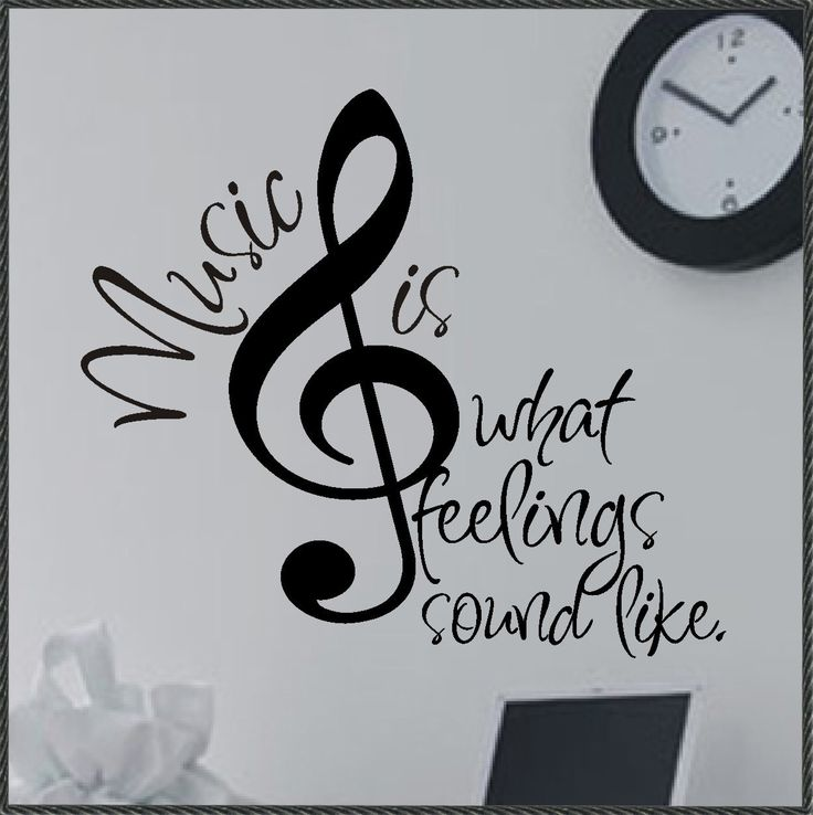 Vinyl Wall Lettering Quotes Decals Stickers Treble Clef Music is...