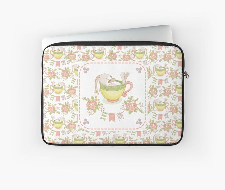 #Hare #Flowers #Floral #Springtime #Rabbit #Pastels #Flowery #Cup #Sleep #baby #Spring #Mia #redbubble #Laptop #sleeves