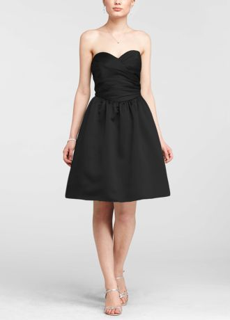 Classic silhouette with modern dayupdates, this dressis a sweet look your bridesmaids will love!  Strapless satinruched bodicewithultra-feminine sweetheart neckline.  Pleated waist flows into full skirt with crinoline and features trendy side pockets.  Fully lined. Imported polyester. Back zip. Dry clean only.