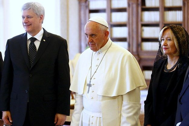 """A hoax is circulating on Facebook and Twitter that claims Prime Minister Stephen Harper was kicked out of the Vatican """"after getting caught masturbating in front of old photos of Mussolini."""" Here's how it looked on Facebook. 