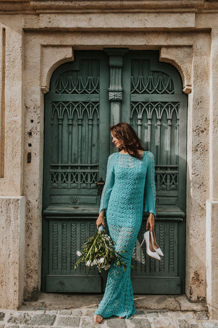 knitted wedding,turquoise dress, türkiz ruha lace,süel, women's clothing