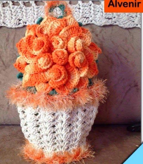 Crochê Gráfico: PUXA-SACO de crochê em formato de vaso de flores