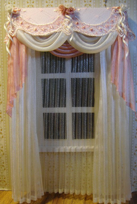 Miniature 1:12 Dollhouse curtains on order by TanyaShevtsova