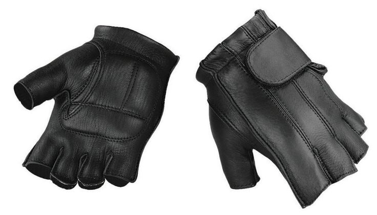 Raider Deluxe Fingerless Leather Gloves Large Motorcycle Riding Gloves L #Raider