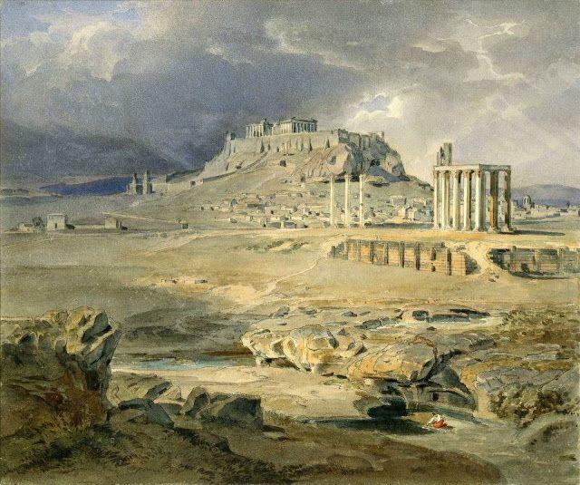 Carl Anton Joseph Rottmann,1836.Η Ακρόπολις από τις στήλες του Ολυμπίου Διός.