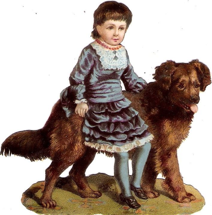Oblaten Glanzbild scrap die cut chromo Kind child Hund dog enfant chien girl