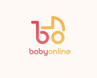 "Also trending at the moment, typography within a logo, as seen here with the ""B"" and ""O"" for ""babyonline"" being integrated into a baby carriage image for their logo.  #Logo #BabyOnline #TribalVision"