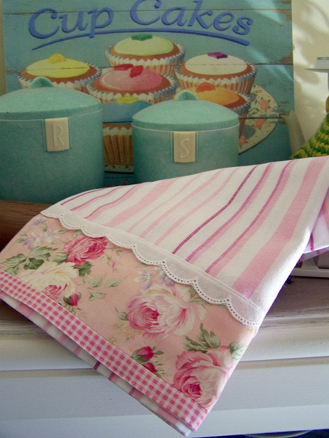 Pink and white decorative tea towel with cupcakes background. by Decorative Towels - Created by Cath., via Flickr