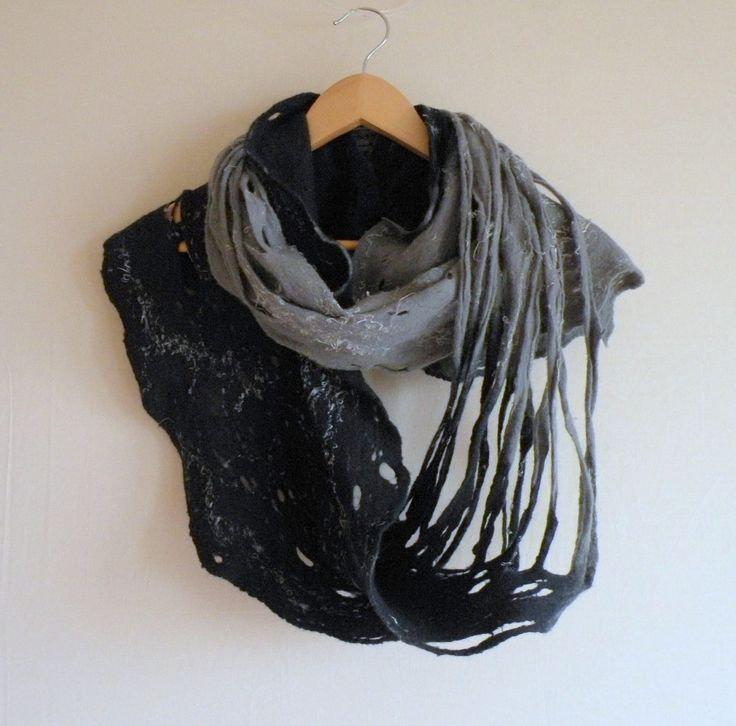 Things I would buy if I had the money for shredded clothes. / Cobweb felted wool Circle scarf