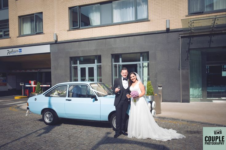 The happy couple arriving at The Radisson. Weddings at The Radisson Galway photographed by Couple Photography.