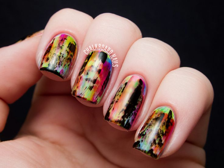 Punky Neon Grunge Nail Art at Chalkboard Nails