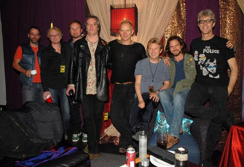 Pearl Jam with Mike Mills and Peter Buck (REM), Sting , Andy Summers and Stewart Copeland (The Police)