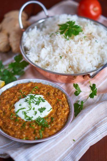Berglinsen-Curry mit Reis - perfekt für die kühlere Jahreszeit