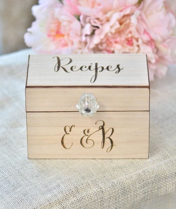 Personalized recipe box wooden recipe box by BellaBrideCreations