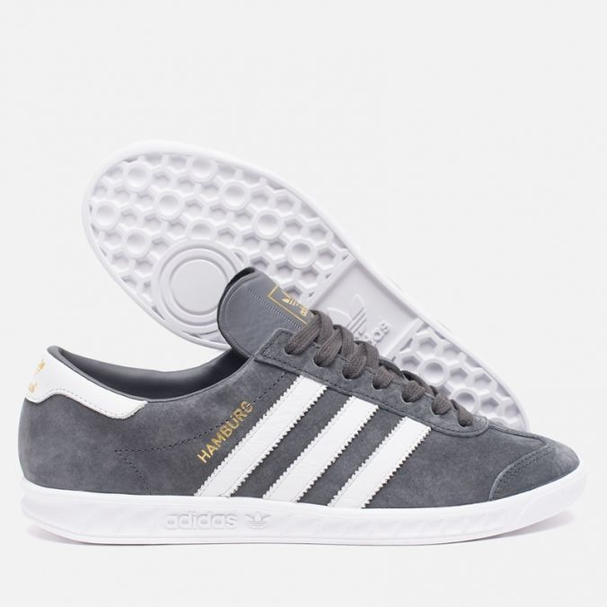 Кроссовки adidas Originals Hamburg Solid Grey/White/Gold. Article: AQ3003.  Release