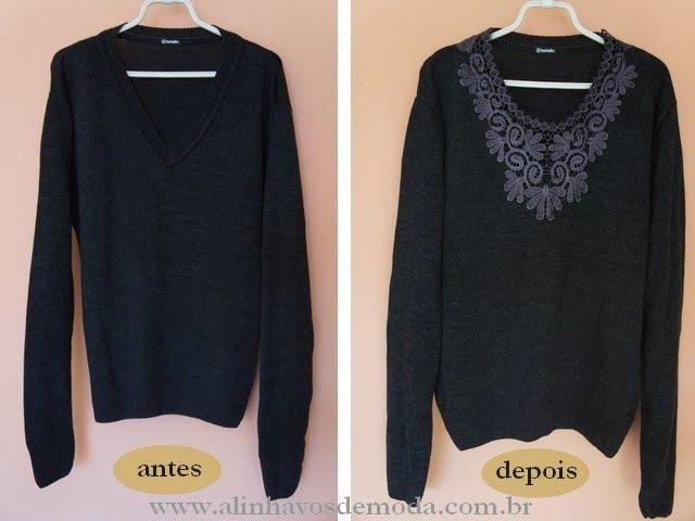Como customizar suéter de tricô de lã com renda?
