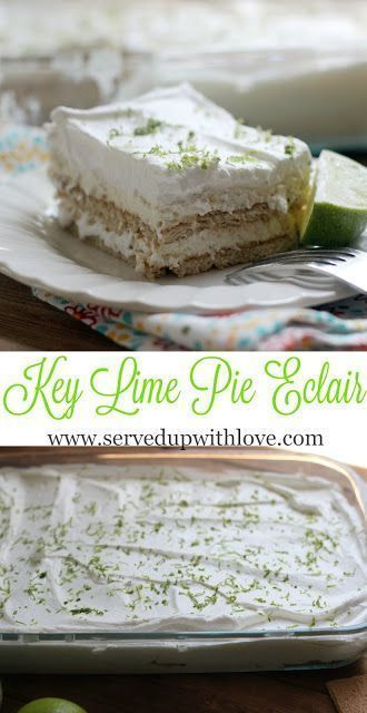 Key Lime Pie Eclair ~ Southern on a Shoestring {Cookbook Review} from Served Up With Love. Layers of graham crackers, key lime pie filling, and whipped topping make this dessert to-die-for good.