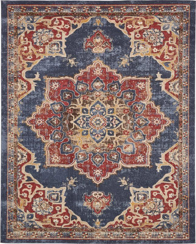 Dulin Persian Inspired Navy Blue Area Rug Area Rugs Red Area