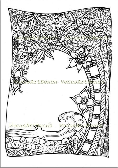 ZentangleR Tropical Trees Inspired Colorable DIY Zendoodle PDF Printable Coloring Sheet Digital Download