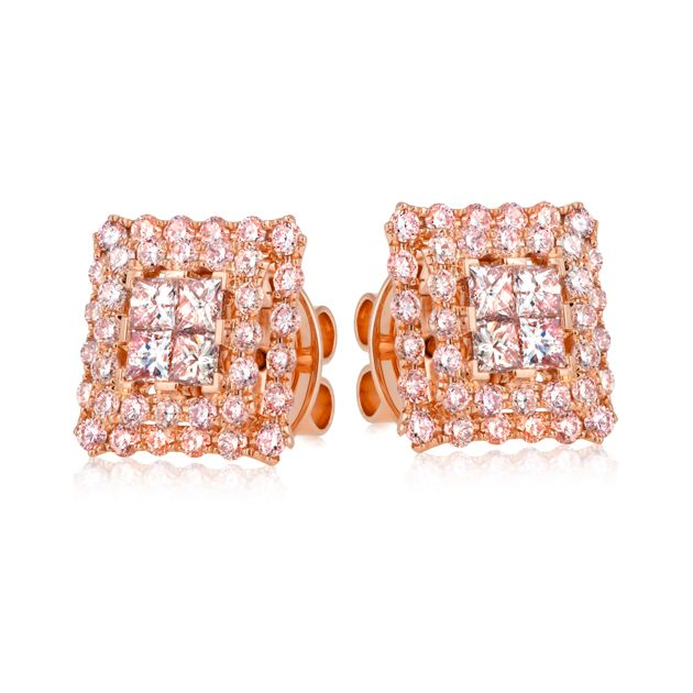 18ct Rose Gold Round Brilliant Cut Diamond Earring