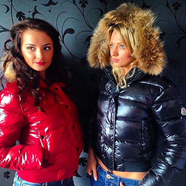 A Couple Of Sexy Ladies Wearing Their Moncler Jackets
