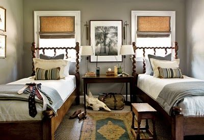 Twin beds, rustic.