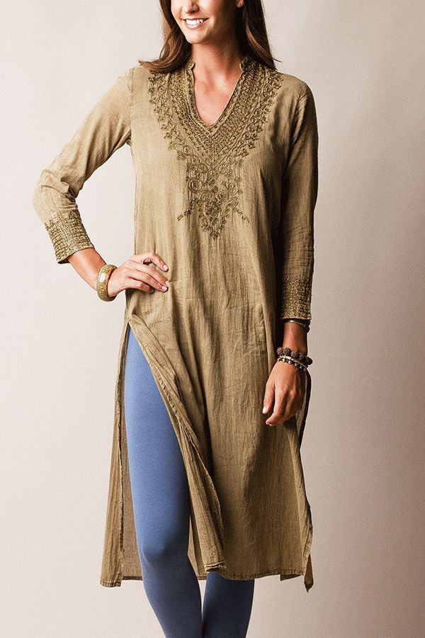 Embroidered Punjabi Kurti Tunic                            #artisanmade #giftsforher http://festivalfirefashion.com/collections/dresses-skirts