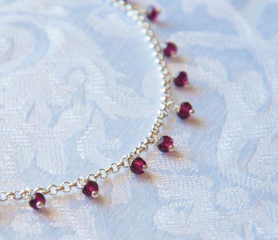Garnet Dew Drop- Necklace in silver chain with fine garnet - White Apple Gifts